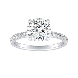 Auriya 14k Gold Classic 3ct Round Moissanite and 1/3ctw Diamond Engagement Ring