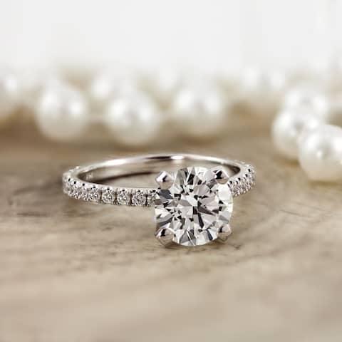 Auriya 14k Gold Classic 2ct Moissanite and Diamond Engagement Ring 1/3ctw