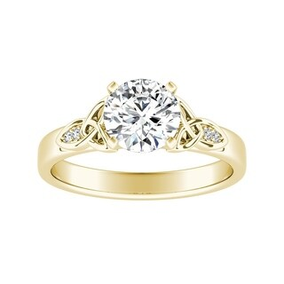 Auriya 14k Gold 1/2ct Round Moissanite and 1/10ctw Diamond Engagement Ring