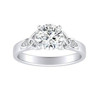 Auriya 14k Gold 3/4ct Brilliant Round Moissanite and 1/10ct TDW Diamond Celtic Knot Engagement Ring