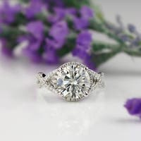 Auriya 14k Gold Infinity-Inspired 3ct Round Moissanite and 1/2ct TDW Diamond Engagement Ring