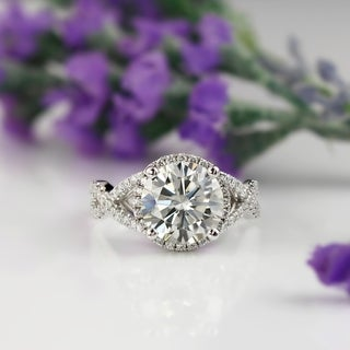 Auriya 14k Gold Infinity-Inspired 3ct Round Moissanite and 1/2ct TDW Diamond Engagement Ring