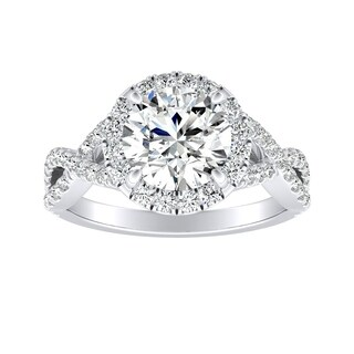 Auriya Infinity Round2ct Moissanite and 1/2ctw Diamond Halo Engagement Ring 14K Gold