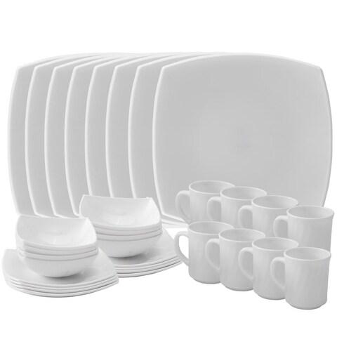 Matashi Platinum Collection Opal Glass 32-Piece Dinnerware Set Heat/ Break Resistant, Service for 8