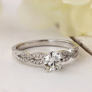 Auriya Infinity 3/4ct Round Moissanite and 1/6ctw Diamond Engagement Ring 14k Gold