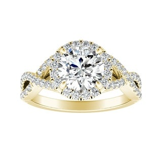 Auriya 14k Gold Infinity Halo 4ct Round Moissanite and 1/2ctw Diamond Engagement Ring