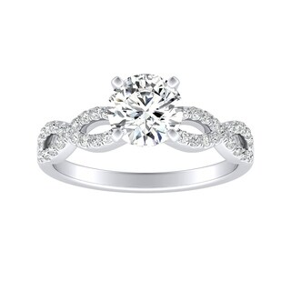 Auriya Infinity 1ct Round Moissanite and 1/6ctw Diamond Engagement Ring 14k Gold