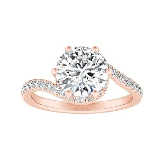 Auriya 14k Gold 2ct Round Moissanite and 1/3ctw Halo Diamond Swirl Engagement Ring
