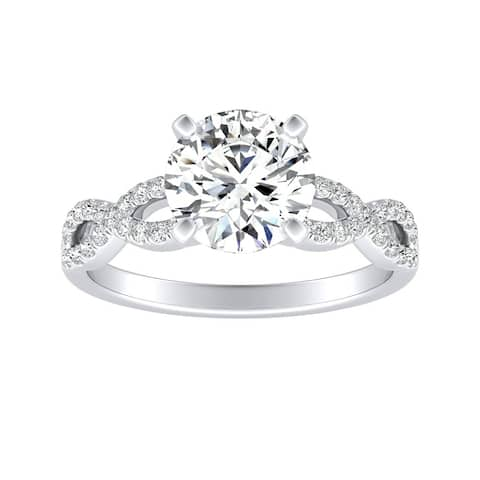 Auriya 2ct Moissanite Infinity Diamond Engagement Ring 1/6ctw 14k Gold