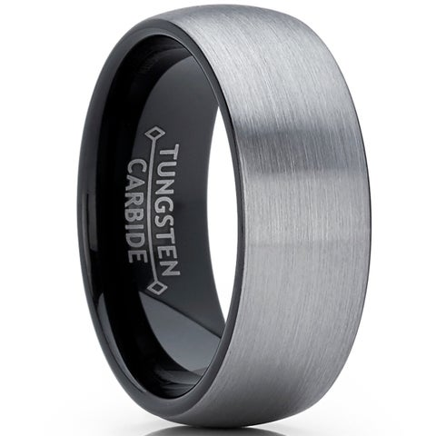 Oliveti Black Tungsten Carbide Dome Wedding Band Ring Brushed Comfort Fit 8mm