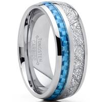 Oliveti Men's Tungsten Carbide Wedding Band Ring Baby Blue Carbon Fiber and Imitated Meteorite