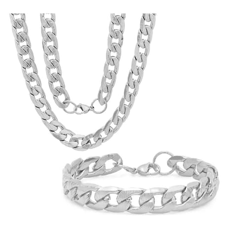 Steeltime Men's Set of 2 Stainless Steel Accented Thick Cuban Link Chain Bracelet and Necklace in 2 Colors