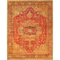 "Serapi Collection Hand-Knotted Rust Wool Area Rug (8' 1"" X 10' 0"")"