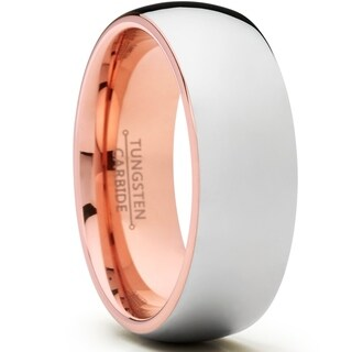 Oliveti Men's Dome Rose Tone Tungsten Carbide Wedding Band 8mm Comfort Fit Ring
