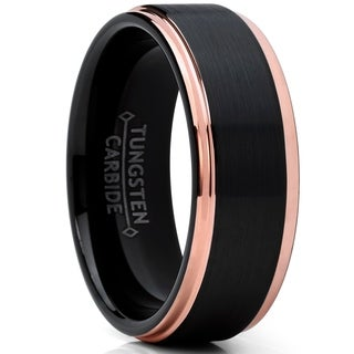 Oliveti Men's Tungsten Carbide Black and RoseTone Wedding Band Engagement Ring Comfort Fit 8mm
