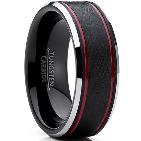 Oliveti Tungsten Carbide Men's Black Brushed Textured Wedding Band Engagement Ring 8 mm Comfort Fit