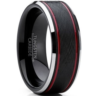 Oliveti Tungsten Carbide Men's Black Brushed Textured Wedding Band Engagement Ring 8 mm Comfort Fit