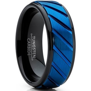 Link to Oliveti Tungsten Carbide Black and Blue Wedding band Engagement Ring with Grooved Center, Comfort Fit Similar Items in Men's Jewelry
