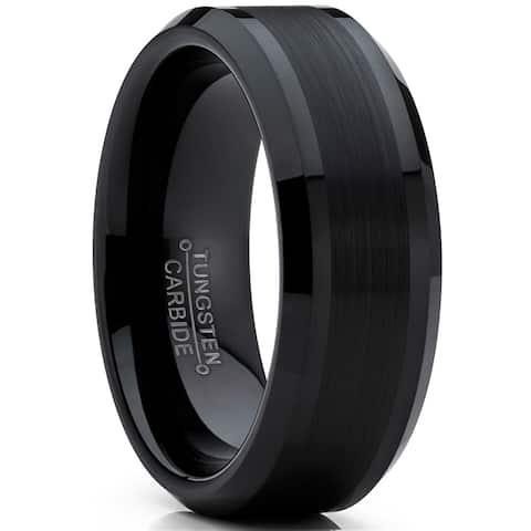 Oliveti Tungsten Carbide Men's Black Brushed Wedding Band Engagement Ring Comfort Fit 8 mm