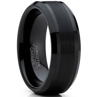 Oliveti Tungsten Carbide Men's Black Brushed Wedding Band Engagement Ring Comfort Fit 8 mm