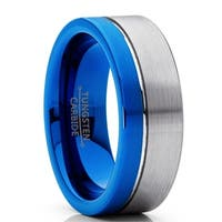Oliveti Men's Off-Center Blue Pipe Cut Tungsten Carbide Wedding Band Engagement Ring Comfort