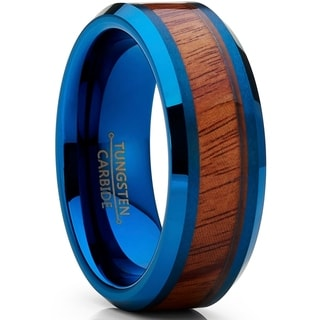 Link to Oliveti Olivet Tungsten Carbide Men's Blue Wedding Band Ring with Real Santos Wood Inlay Similar Items in Men's Jewelry