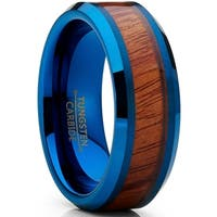 Olivet Tungsten Carbide Men's Blue Wedding Band Ring with Real Santos Wood Inlay