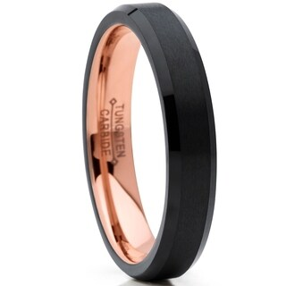 Oliveti Tungsten Carbide Black and RoseTone Wedding Band Ring, Comfort Fit 4mm