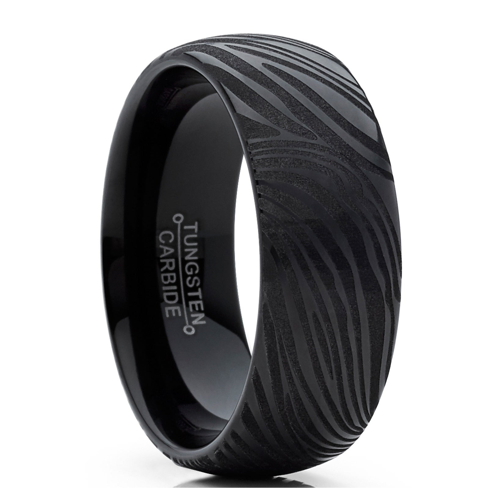 Shop Oliveti Men S Black Tungsten Carbide Dome Wedding Band Ring With Damascus Texture 8mm On Sale Overstock 21546775