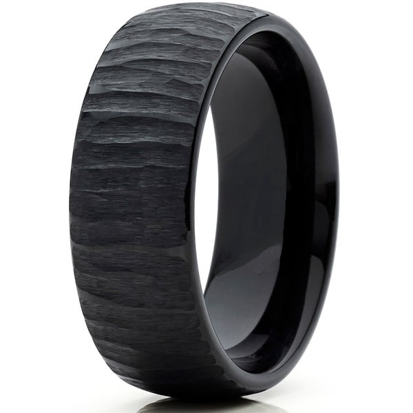 Mens Black Tungsten Carbide Dome Wedding Band Engagement Ring Chieseled Tree Bark Textured Design