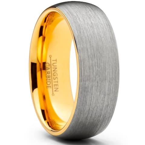 Oliveti Men's Dome Brushed GoldTone Tungsten Carbide Wedding Band Ring Comfort Fit 8mm