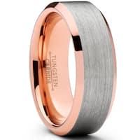 Oliveti Men's Flat Top Brushed Rose Tone Tungsten Carbide Wedding Band Ring, 8mm Comfort Fit