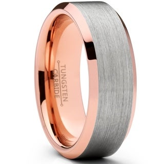 Oliveti Men's Flat Top Brushed Rose Tone Tungsten Carbide Wedding Band Ring, 8mm Comfort Fit