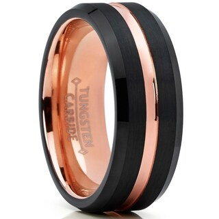 Oliveti Tungsten Carbide Men's Black and RoseTone Wedding Band Ring, Comfort Fit 8mm