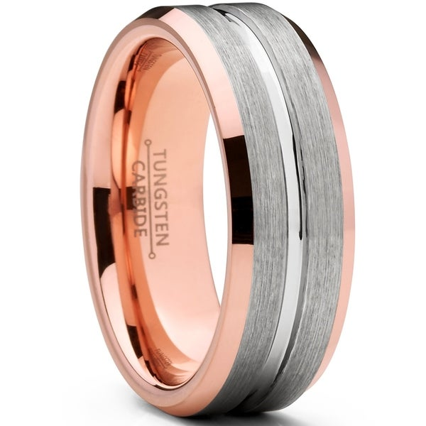 43942eb3bb2 Oliveti Men  x27 s Brushed Rose Tone Tungsten Carbide Wedding Band Ring