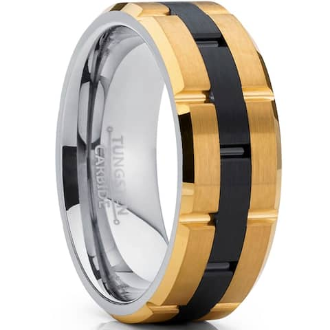Oliveti Tungsten Carbide Men's Black and GoldTone Brushed Wedding Band Engagement Ring