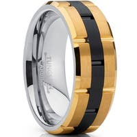 Oliveti Tungsten Carbide Men's Black and GoldTone Brushed Wedding Band Engagement Ring