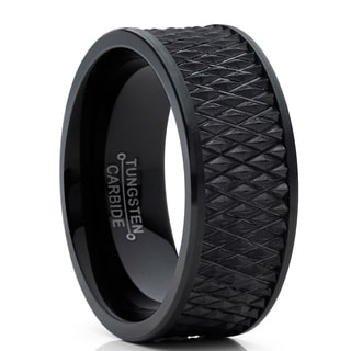Oliveti Men's Black Tungsten Carbide Wedding Band Ring Diamond Treaded Design 9mm