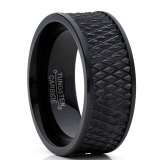 Oliveti Men's Black Tungsten Carbide Wedding Band Ring Diamond Treaded Design 9mm