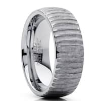 Oliveti Men's Tungsten Carbide Dome Wedding Band Ring Chieseled Tree Bark Design