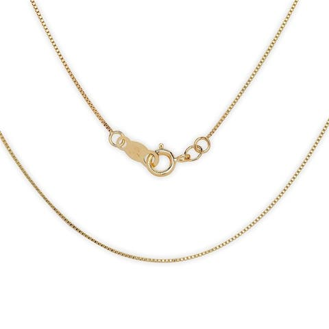 Curata 14k Gold Women's 16-22 Inch Carded Box Chain Necklace (yellow or white)
