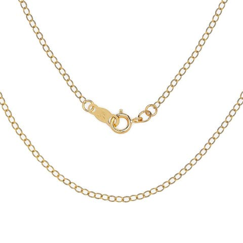 Curata 14k Gold Women's 16-22 Inch Carded Cable Chain Necklace (yellow or white)