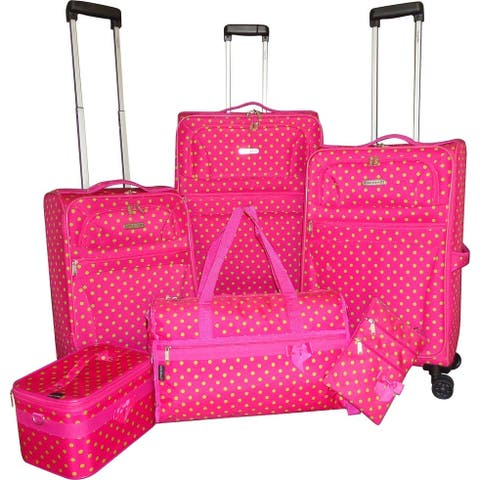 """Karriage-Mate Green Polka Dots 6-piece Expandable Spinner Luggage Set - 28"""" 24"""" 20"""""""
