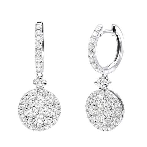 20d46e2fe 2 Carat Dangling Round Diamond Drop Earrings For Women 14k Gold G-H Color  by Luxurman