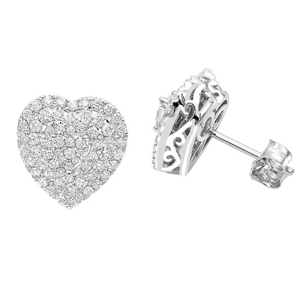 11699e8df87f50 Pave Diamond Heart Earrings for Women 1 Carat Diamond Studs 14k Gold by  Luxurman