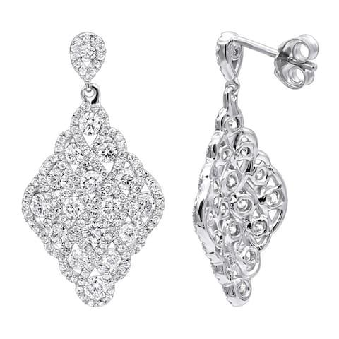 Designer 14k Gold Diamond Drop Earrings for Women 2.5 Carat Vintage Style G-H Color by Luxurman