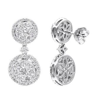 2.5 Carat Ladies Halo Diamond Drop Earrings in 14k Gold G-H Color by Luxurman