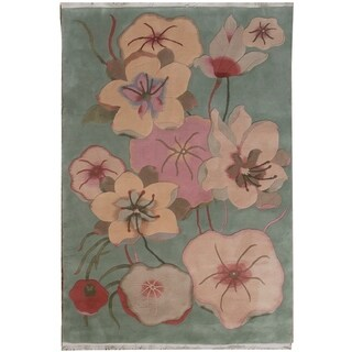 Wool Tibetan Open Flower Rug - 5' x 7'