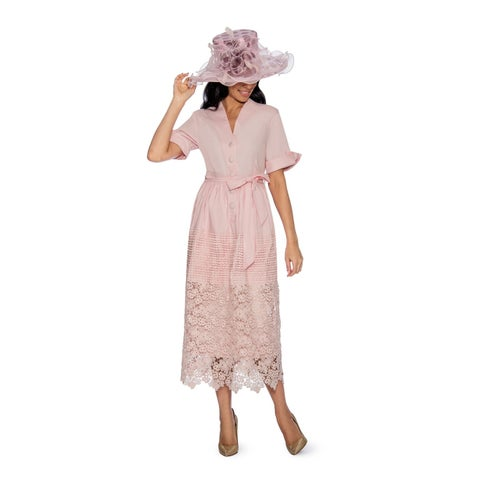 Giovanna Signature Women's V-neck Cotton Crochet Dress with Belt