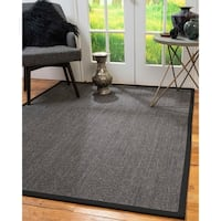 "NaturalAreaRugs Shadows Custom Sisal Rug (2' 6"" x 10') Black Border - 2'6""x10'"